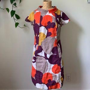 Boden Linen Print Pocket Shift Dress